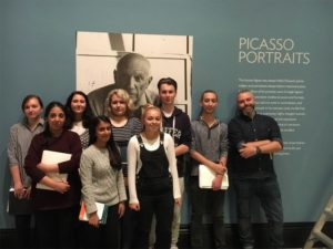 Uxbridge College Art and Design Students at Picasso Portraits Preview